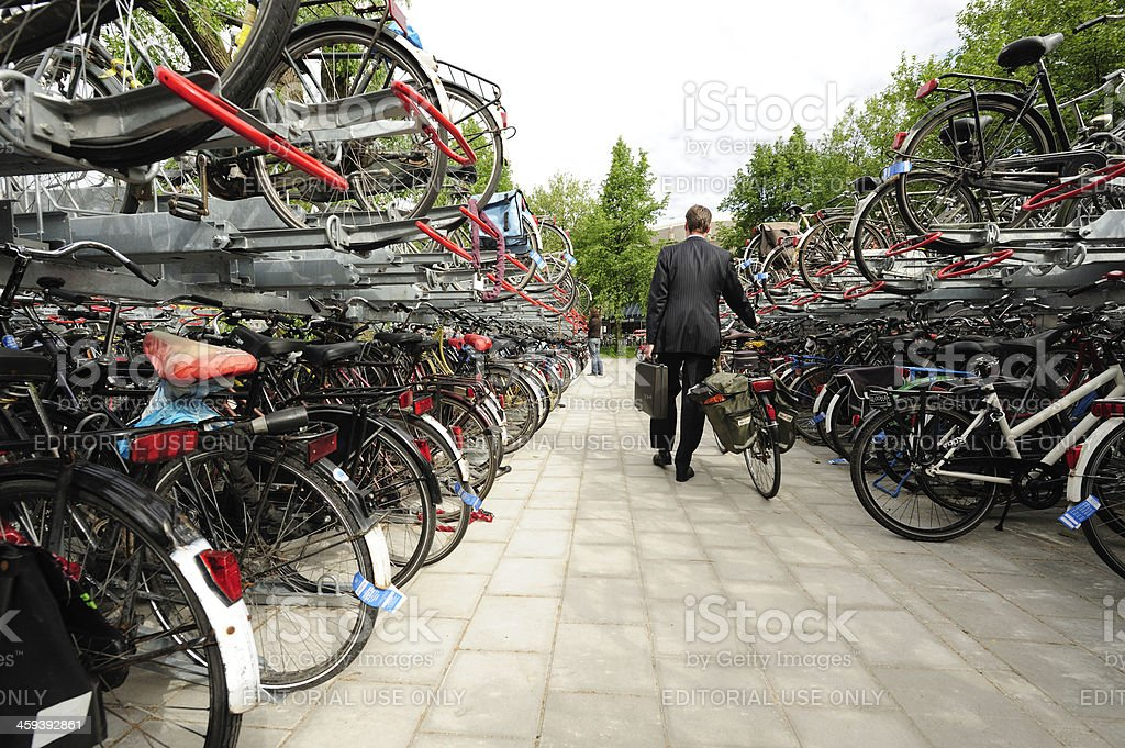 Free bicycle parking in Utrecht stock photo