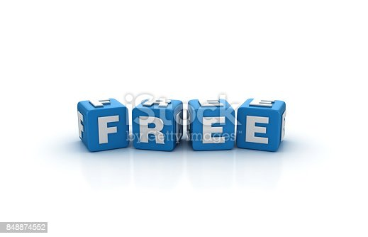 Free Buzzword Cubes - White Background - 3D Rendering