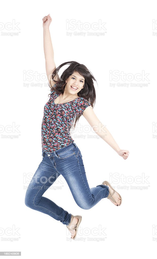 Free dance, jumping up. stock photo