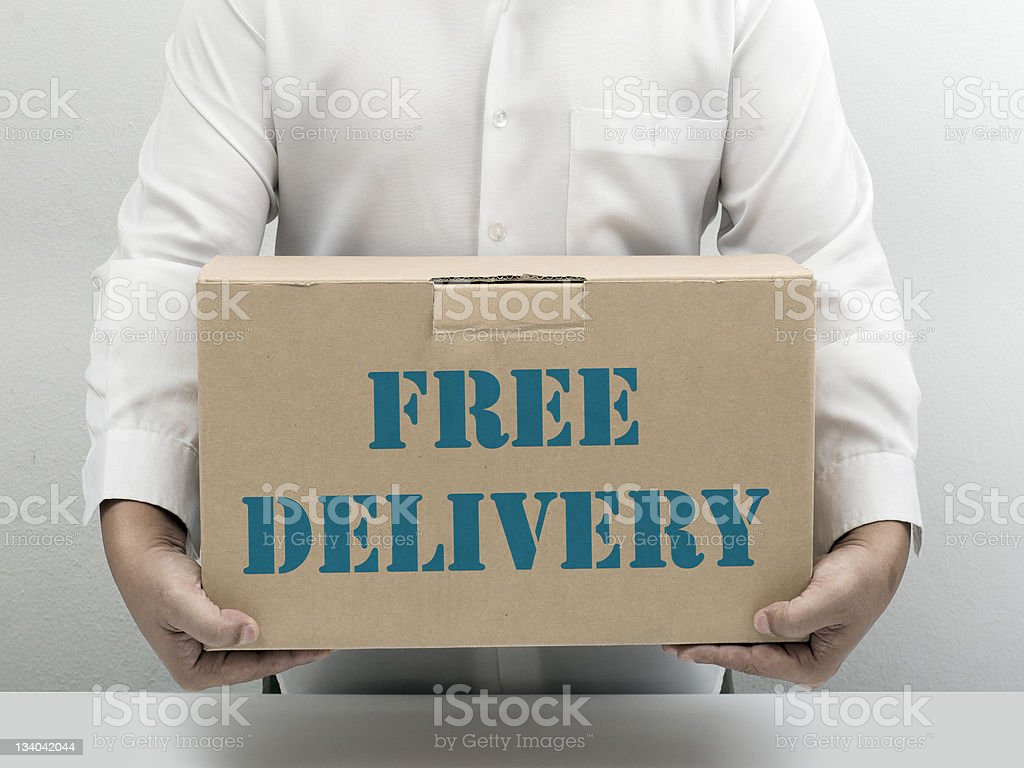 Free Delivery brown paper box royalty-free stock photo