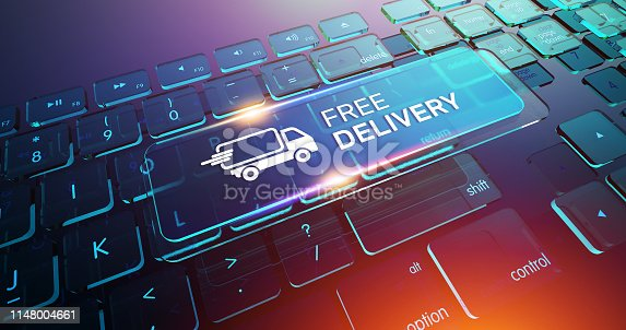 510998733 istock photo Free Delivery Button on Computer Keyboard 1148004661