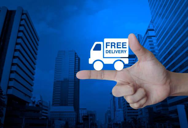 kostenlose lieferung-konzept - kostenlose webseite stock-fotos und bilder