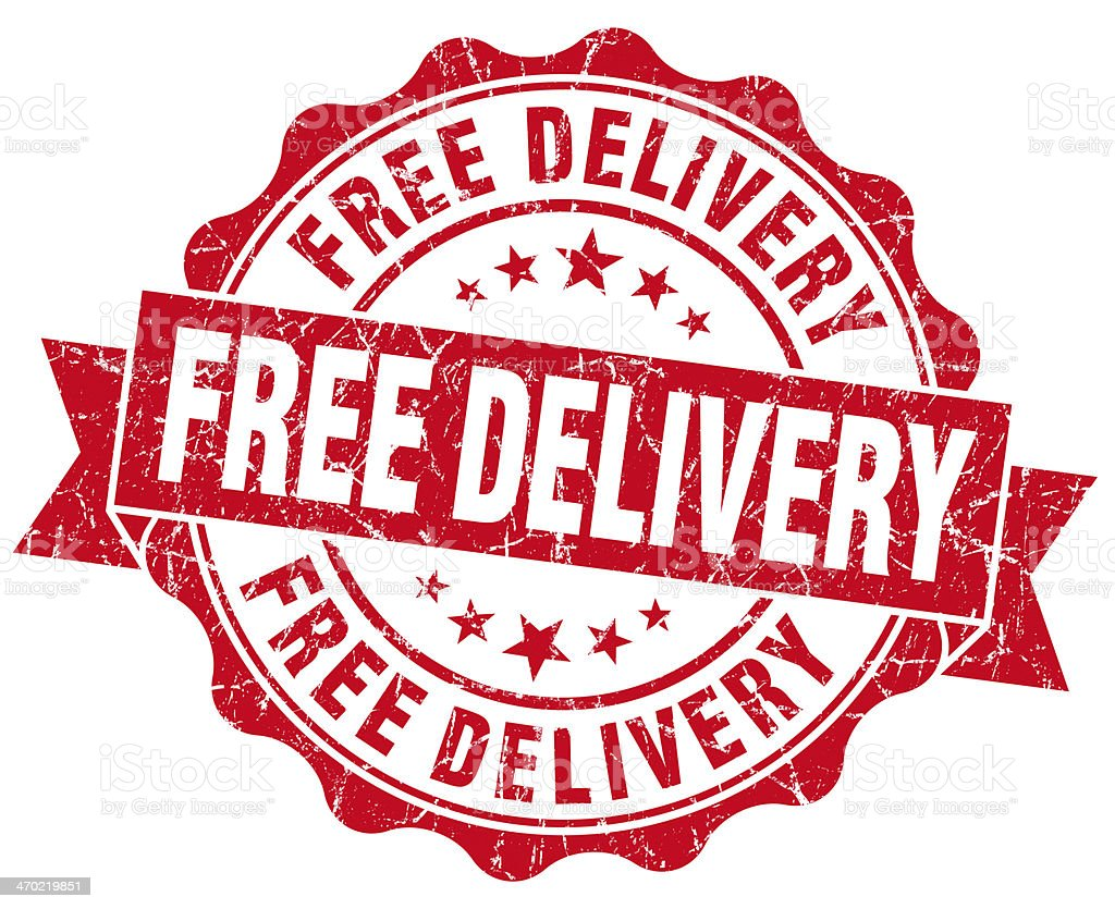Free delivery grunge round red seal stock photo