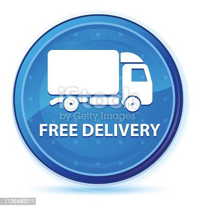 510998733istockphoto Free delivery midnight blue prime round button 1126490211