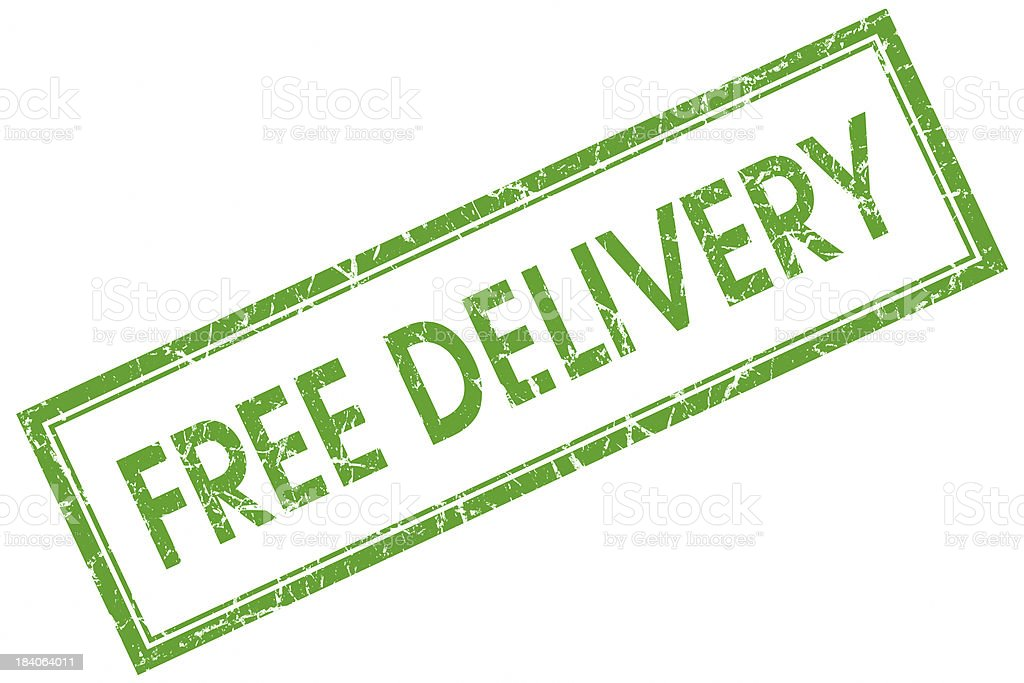 free delivery square green stamp stock photo