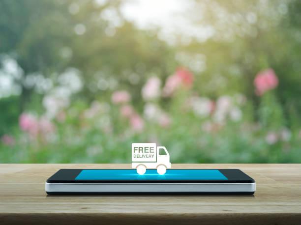 kostenlose lieferung lkw-business-konzept - iphone gratis stock-fotos und bilder
