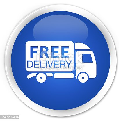 510998733istockphoto Free delivery truck icon blue glossy round button 547202494