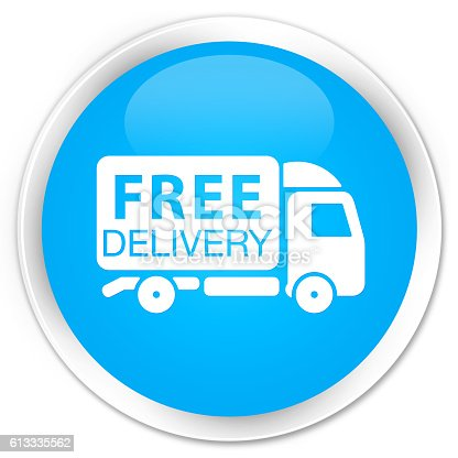 510998733istockphoto Free delivery truck icon cyan blue glossy round button 613335562