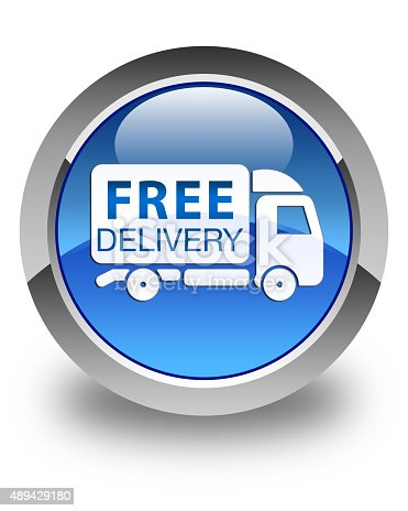 510998733istockphoto Free delivery truck icon glossy blue round button 489429180