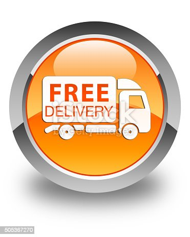 510998733 istock photo Free delivery truck icon glossy orange round button 505367270