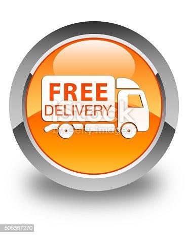 510998733istockphoto Free delivery truck icon glossy orange round button 505367270
