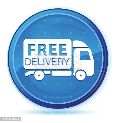 510998733istockphoto Free delivery truck icon midnight blue prime round button 1126116606