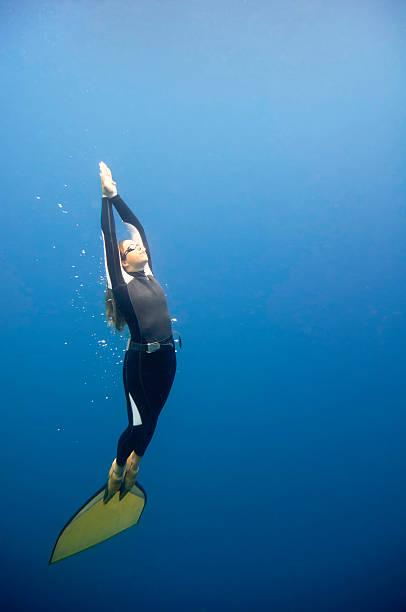kostenlose diver in der blauen zone - freitauchen stock-fotos und bilder
