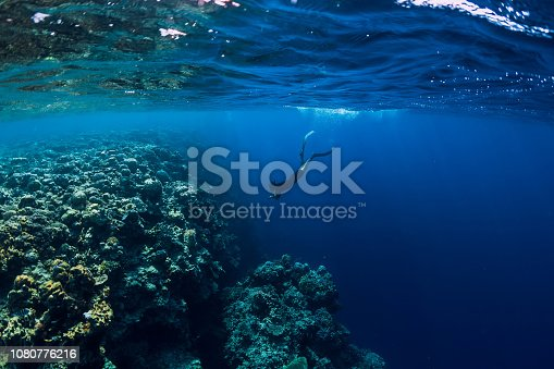 istock Free diver man dive in ocean, underwater view with rocks and corals 1080776216