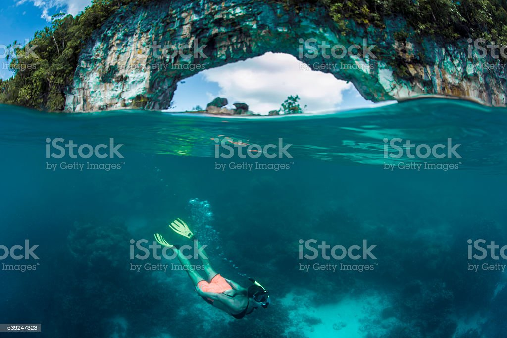 Free diving stock photo