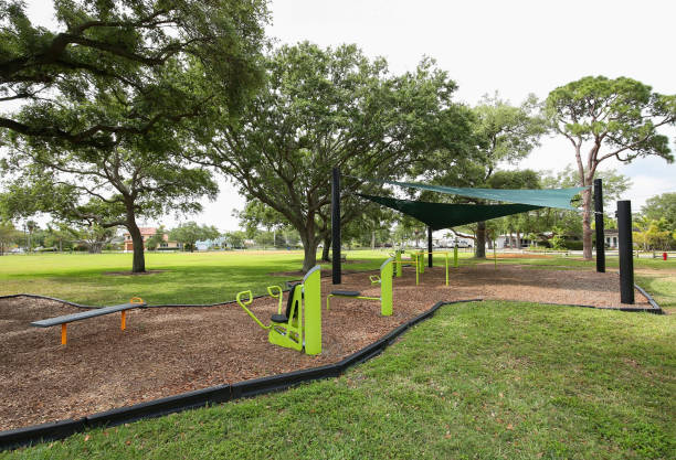 Free exercise stations at a public park stock photo