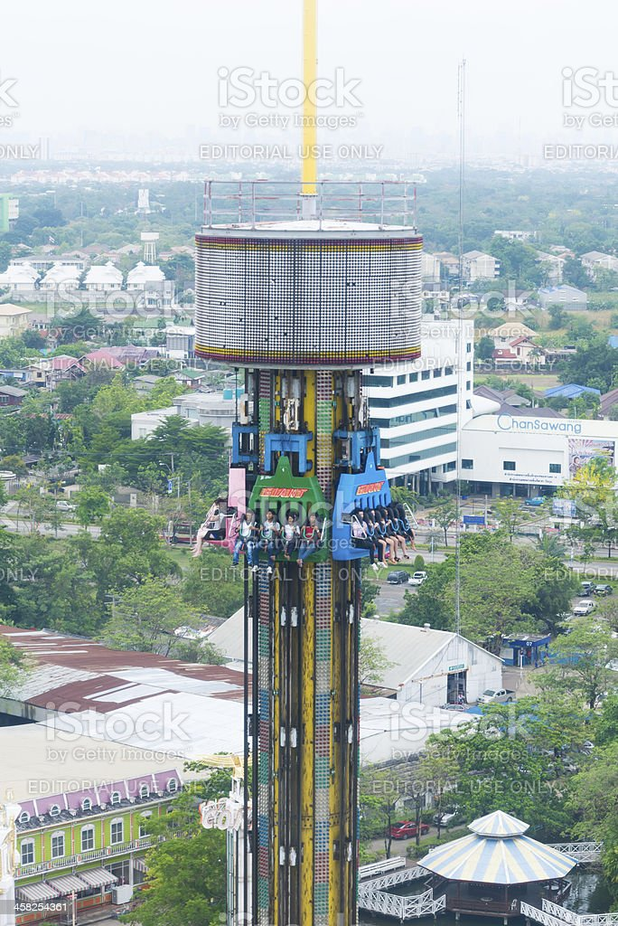 Free fall tower in amusement park stock photo