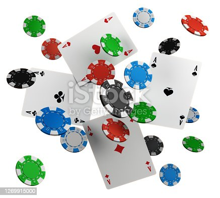 Free falling poker chips on white background