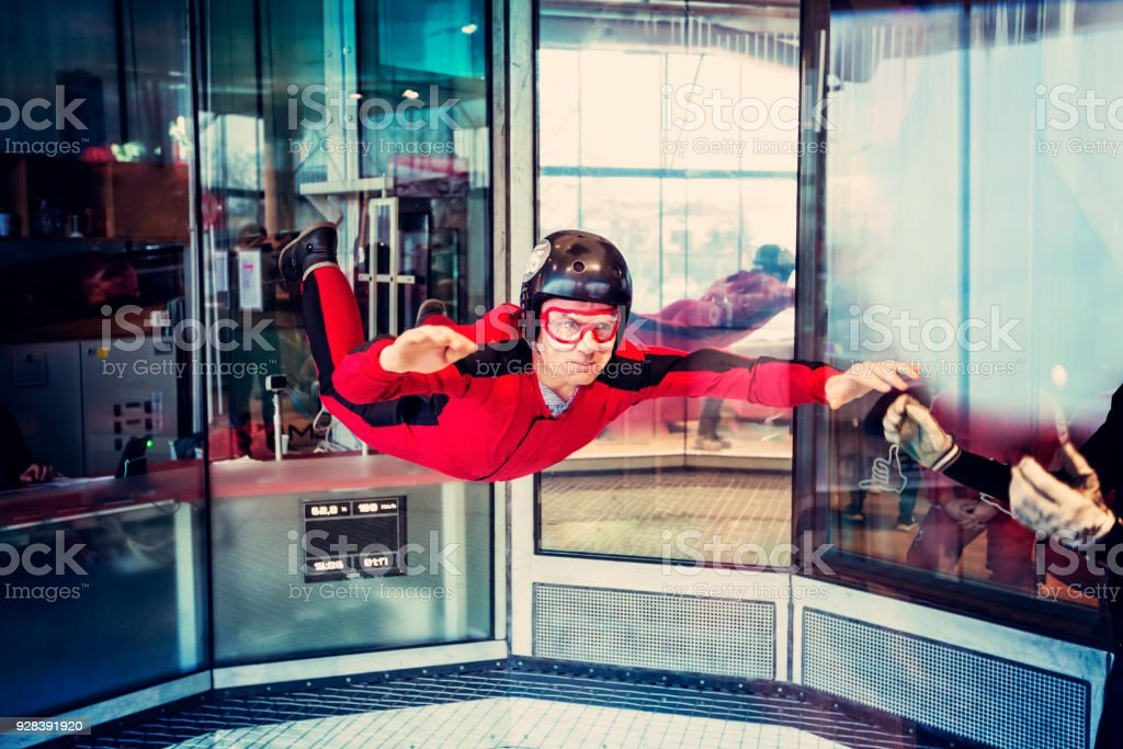 Free flight in the wind tunnel. stock photo