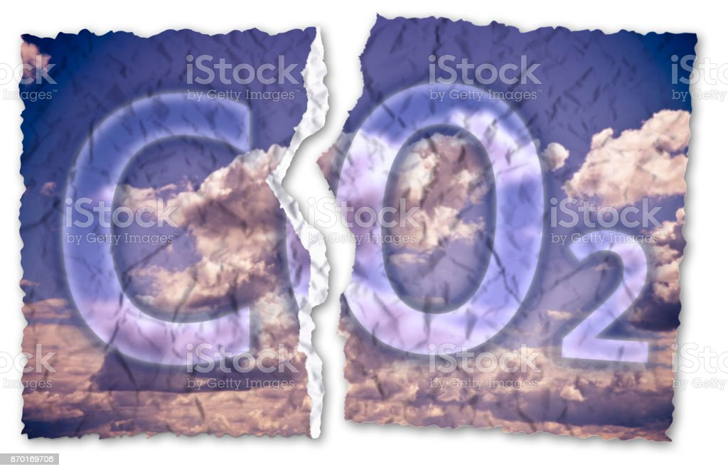 Free from Co2 presence in the atmosphere - concept image with ripped photo stock photo