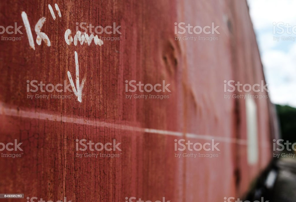 Free hand measurements seen on the side of an old railway mail train. stock photo