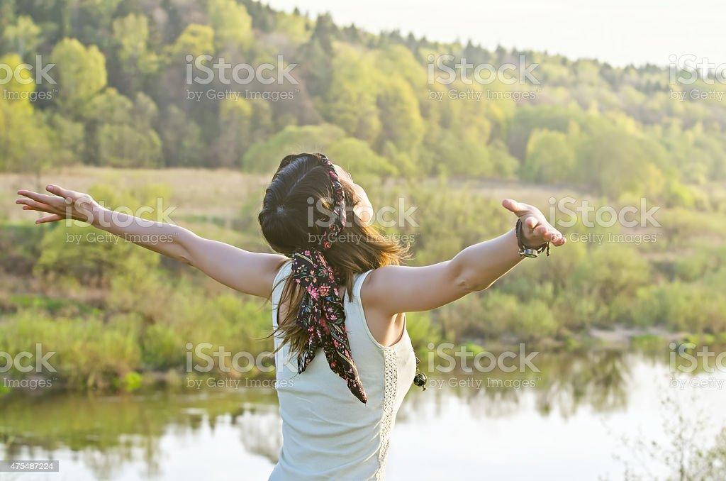 Free Happy Woman Enjoying Nature Beauty Girl Outdoor Freedom C Stock Photo Download Image Now Istock
