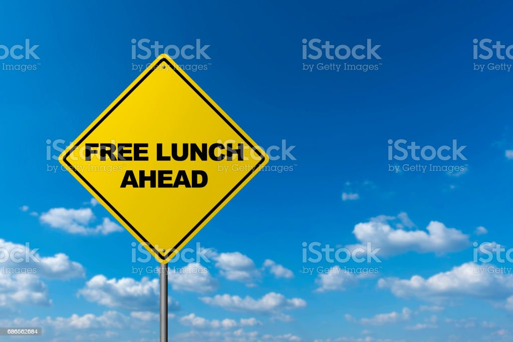 Free Lunch Ahead - Road Warning Sign foto stock royalty-free