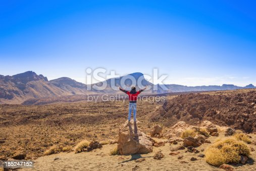 Free man and majestic landscape in el teide national park