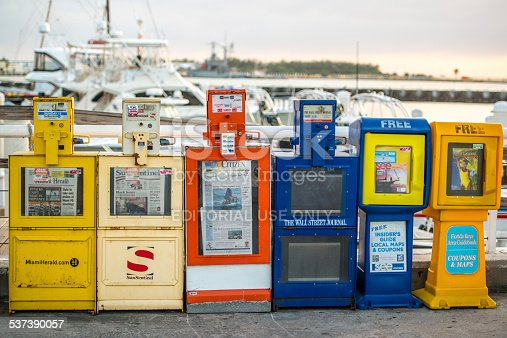 Key West, USA  - January 8, 2015: Free newspaper dispensers in Key West