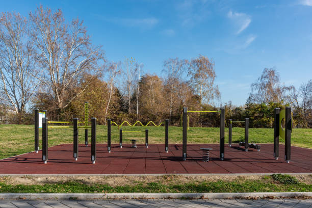 Free outdoor gym in a public park in Novi Sad, Serbia. stock photo