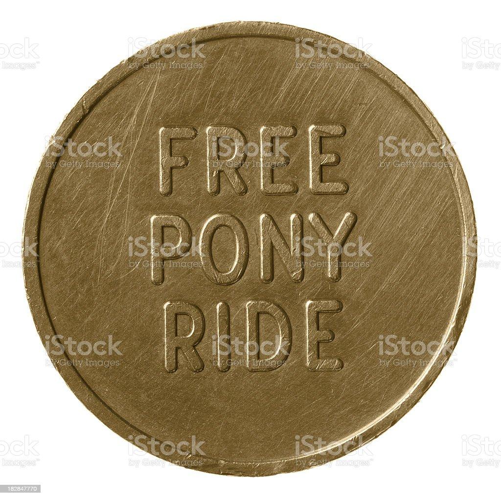 Free Pony Ride Coin stock photo