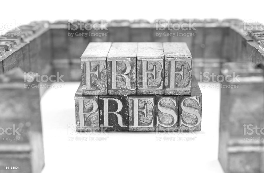 Free Press - Lead letters stock photo