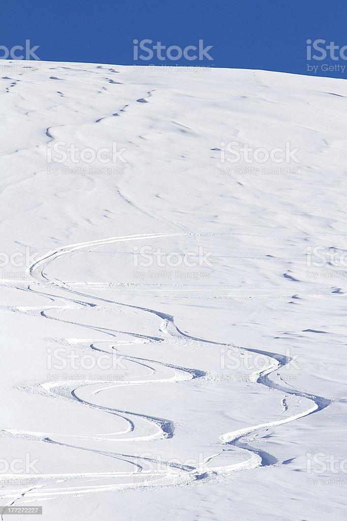 Free ride ski tracks royalty-free stock photo