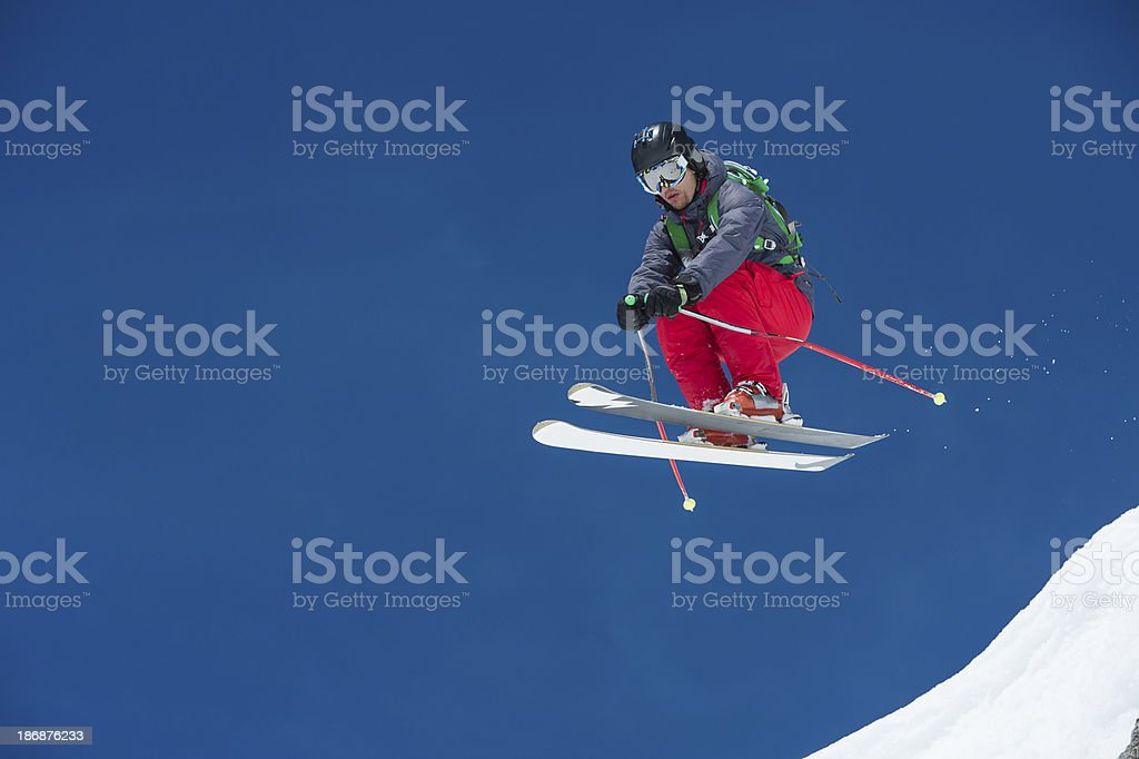 Free Ride Skier at Extreme Jump in Mid Air royalty-free stock photo