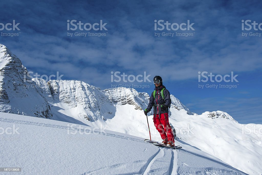 Free Ride Skier Posing in the Beautiful Snowscape royalty-free stock photo