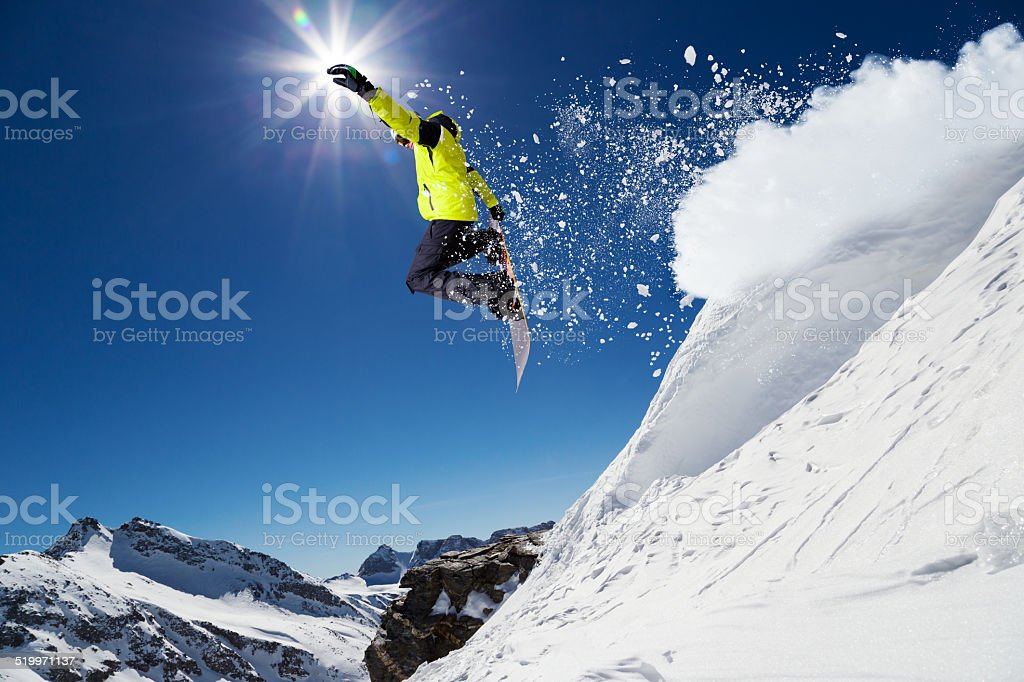Free ride snowboarder stock photo