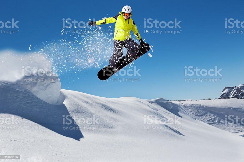 Free ride snowboarder stock photo