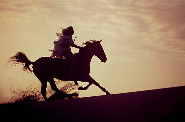 royalty free pretty young woman and her horse splash through the