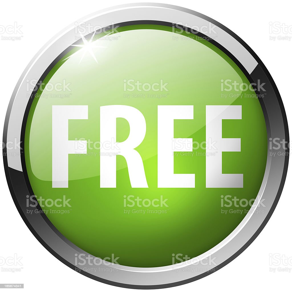free shiny green button stock photo
