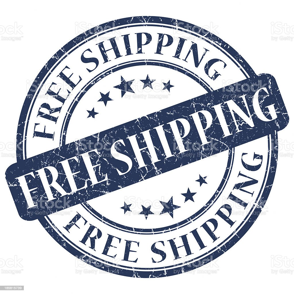 free shipping blue round stamp royalty-free stock photo