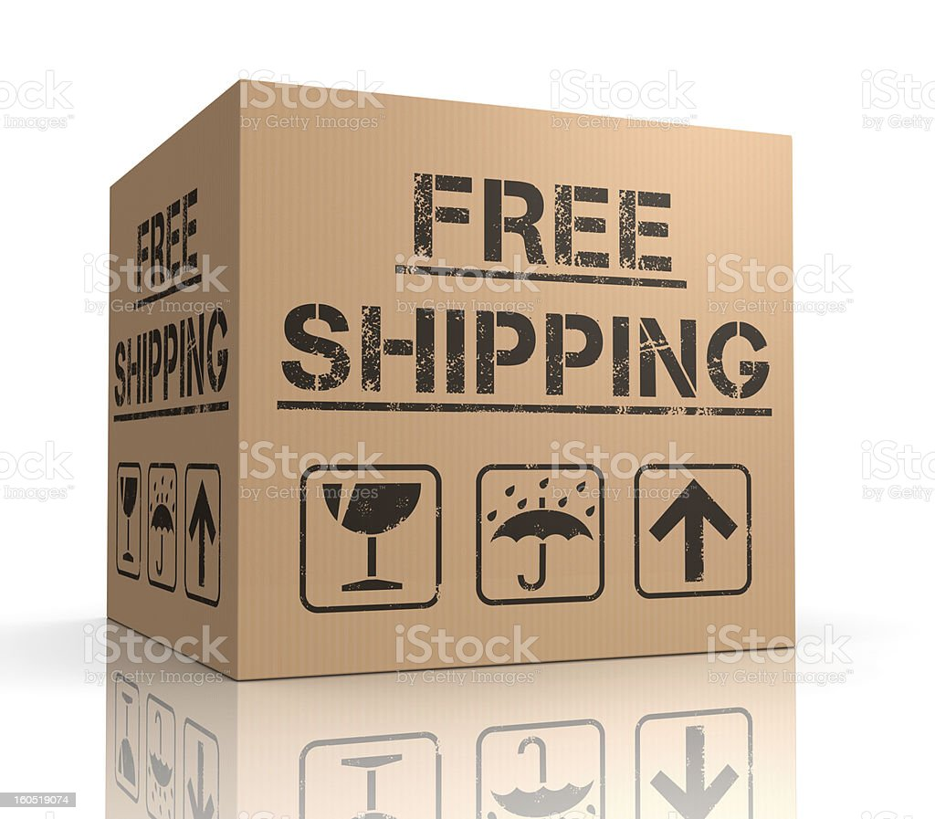 Free shipping cardboard box royalty-free stock photo