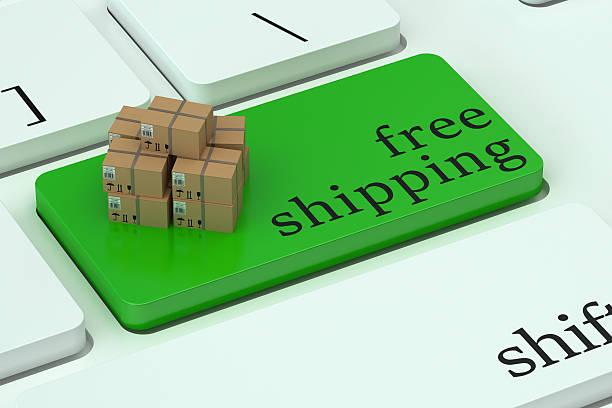 kostenloser versand-konzept auf grüne tastatur taste - kostenlose webseite stock-fotos und bilder