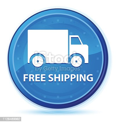 510998733istockphoto Free shipping midnight blue prime round button 1126489962