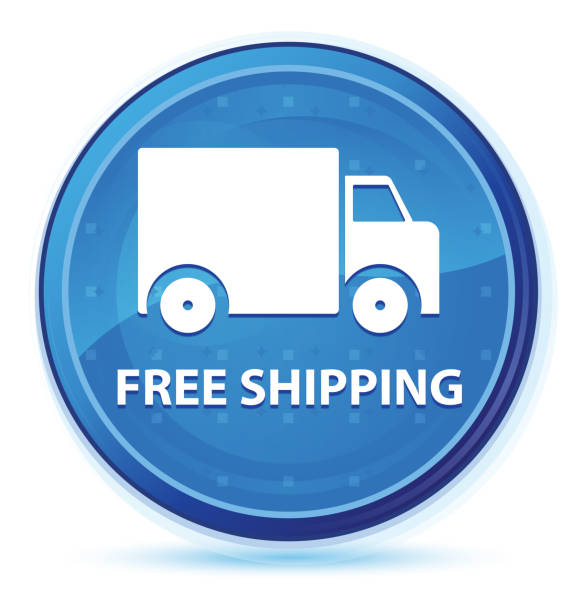 Free shipping midnight blue prime round button stock photo
