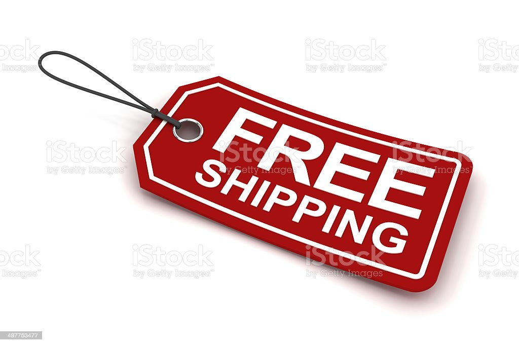 Free shipping tag, 3d render stock photo