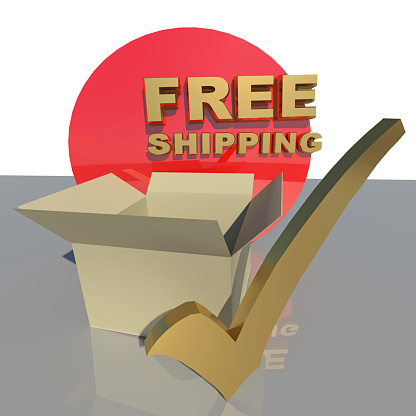istock free shipping tick parcel box background - 3d rendering 1254321089