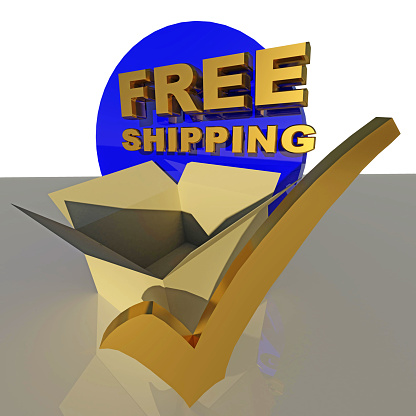 istock free shipping tick parcel box background - 3d rendering 1254321620