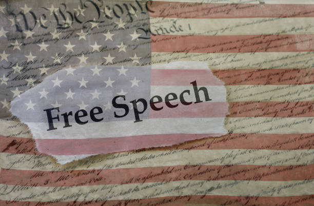 Free Speech, Constitution and flag stock photo