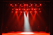istock Free stage with lights, lighting devices on the consert. 1310645761