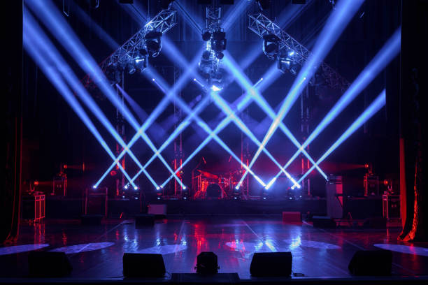Free stage with lights, lighting devices. Free stage with lights, lighting devices. performing arts event stock pictures, royalty-free photos & images